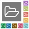 Folder square flat icons - Folder flat icon set on color square background.