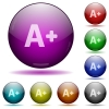 Increase font size glass sphere buttons - Set of color Increase font size glass sphere buttons with shadows.