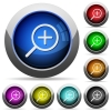 Set of round glossy Zoom in buttons. Arranged layer structure. - Zoom in button set