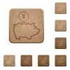 Yen piggy bank wooden buttons - Set of carved wooden Yen piggy bank buttons in 8 variations.
