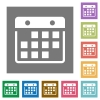 Hanging calendar square flat icons - Hanging calendar flat icon set on color square background.