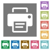 Printer square flat icons - Printer flat icon set on color square background.