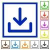 Download framed flat icons - Set of color square framed Download flat icons on white background