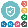 Flat active shield icons - Flat active shield icon set on round color background.