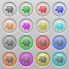 Set of Piggy bank plastic sunk spherical buttons. - Piggy bank plastic sunk buttons