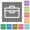 Toolbox square flat icons - Toolbox flat icon set on color square background.