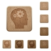 User settings wooden buttons - Set of carved wooden User settings buttons in 8 variations.