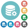 Flat database configuration icons - Flat database configuration icon set on round color background.