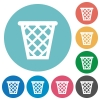 Flat trash icons - Flat trash icon set on round color background.