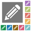 Pencil square flat icons - Pencil flat icon set on color square background.