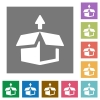 Unpack square flat icons - Unpack flat icon set on color square background.