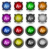 Increase font size button set - Set of Increase font size glossy web buttons. Arranged layer structure.