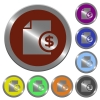 Color money report buttons - Set of glossy coin-like color money report buttons.