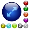 Set of color resize full glass web buttons. - Color resize full glass buttons