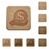 Save money wooden buttons - Set of carved wooden Save money buttons in 8 variations.