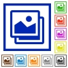 Images framed flat icons - Set of color square framed images flat icons on white background