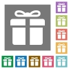 Gift square flat icons - Gift flat icon set on color square background.