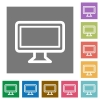 Monitor square flat icons - Monitor flat icon set on color square background.