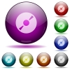 Set of color DVD glass sphere buttons with shadows. - DVD glass sphere buttons