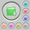 Folder download push buttons - Set of color Folder download sunk push buttons.
