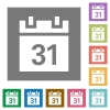 Calendar square flat icons - Calendar flat icon set on color square background.