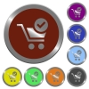 Color checkout buttons - Set of color glossy coin-like checkout buttons.