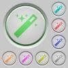 Set of color Magic wand sunk push buttons. - Magic wand push buttons
