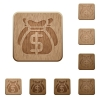 Dollar bags wooden buttons - Set of carved wooden Dollar bags buttons in 8 variations.