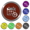 Color calendar add buttons - Set of color glossy coin-like calendar add buttons.