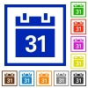 Calendar framed flat icons - Set of color square framed calendar flat icons on white background