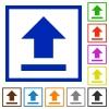 Upload framed flat icons - Set of color square framed Upload flat icons on white background