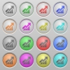 Rising graph plastic sunk buttons - Set of Rising graph plastic sunk spherical buttons.