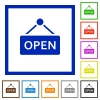 Hanging open sign framed flat icons - Set of color square framed Hanging open sign flat icons on white background
