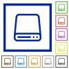 Hard disk framed flat icons - Set of color square framed Hard disk flat icons on white background