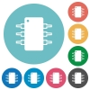Flat integrated circuit icons - Flat integrated circuit icon set on round color background.