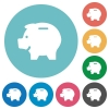 Flat piggy bank icons - Flat piggy bank icon set on round color background.