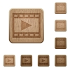Play movie wooden buttons - Set of carved wooden Play movie buttons in 8 variations.