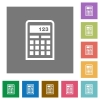 Calculator square flat icons - Calculator flat icon set on color square background.