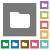 Folder square flat icons - Folder flat icon set on color square background.