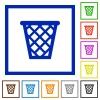 Trash framed flat icons - Set of color square framed trash flat icons on white background