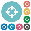 Flat target icons - Flat target icon set on round color background.
