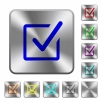 Steel checked box buttons - Engraved checked box icons on rounded square steel buttons