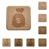 Dollar money bag wooden buttons - Set of carved wooden Dollar money bag buttons in 8 variations.