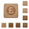 Pound sticker wooden buttons - Set of carved wooden Pound sticker buttons in 8 variations.
