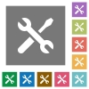 Tools square flat icons - Tools flat icon set on color square background.