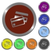Color credit card buttons - Set of color glossy coin-like credit card buttons.