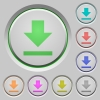 Download push buttons - Set of color download sunk push buttons.