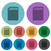 Color SD memory card flat icons - Color SD memory card flat icon set on round background.