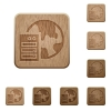 Set of carved wooden Web hosting buttons in 8 variations. - Web hosting wooden buttons