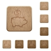 Dollar piggy bank wooden buttons - Set of carved wooden Dollar piggy bank buttons in 8 variations.